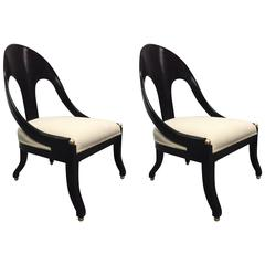 Pair of Neoclassical Style Lounge Chairs Style of Michael Taylor for Baker