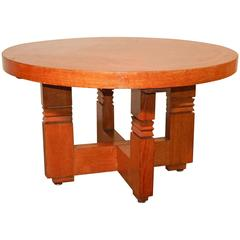French Art Deco Oak Gueridon or Side Table by Charles Dudouyt