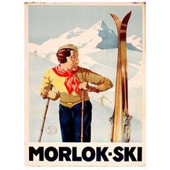 Original Vintage 1930s Austrian Winter Skiing Poster for Morlok - Ski