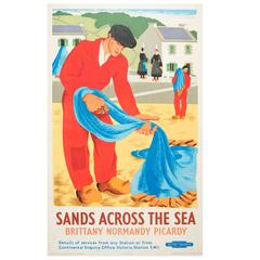Original 1948 British Railways Poster, Sands across the Sea, Brittany Normandy