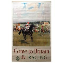 "Original Vintage Horse Racing Poster by LDR Edwards ""Come to Britain for Racing"""