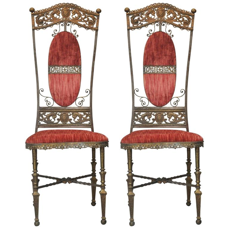 Pair of French Napoleon III Iron and Bronze Altar Chairs