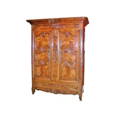 Armoire in Exceptional Burl Cherrywood Superior Carving and Color