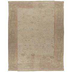 Antique Oushak Carpet, Handmade Oriental Rug, Beige, Shrimp, Taupe, Cream Fine