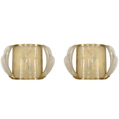 Pair of French Mid-Century Murano Glass and Brass Wall Sconces