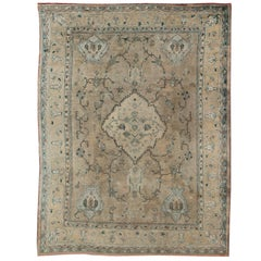 Antique Oushak Carpet in Shades of Blue, Teal, Khaki and Cream