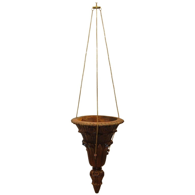 19th Century Hanging Carved Wood Sacristy Bowl