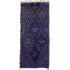 Beni Ourain Moroccan Rug with Mid-Century Modern Style in Cobalt Blue