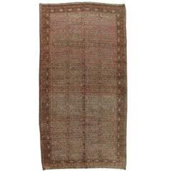 Vintage Khotan Rug, Handmade Oriental Rug, Soft shrimp, Beige, Brown, Allover