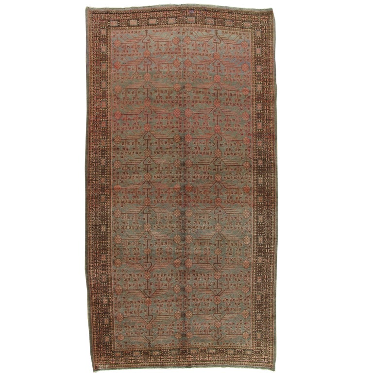 Vintage Khotan Rug, Handmade Oriental Rug, Soft shrimp, Beige, Brown, Allover For Sale