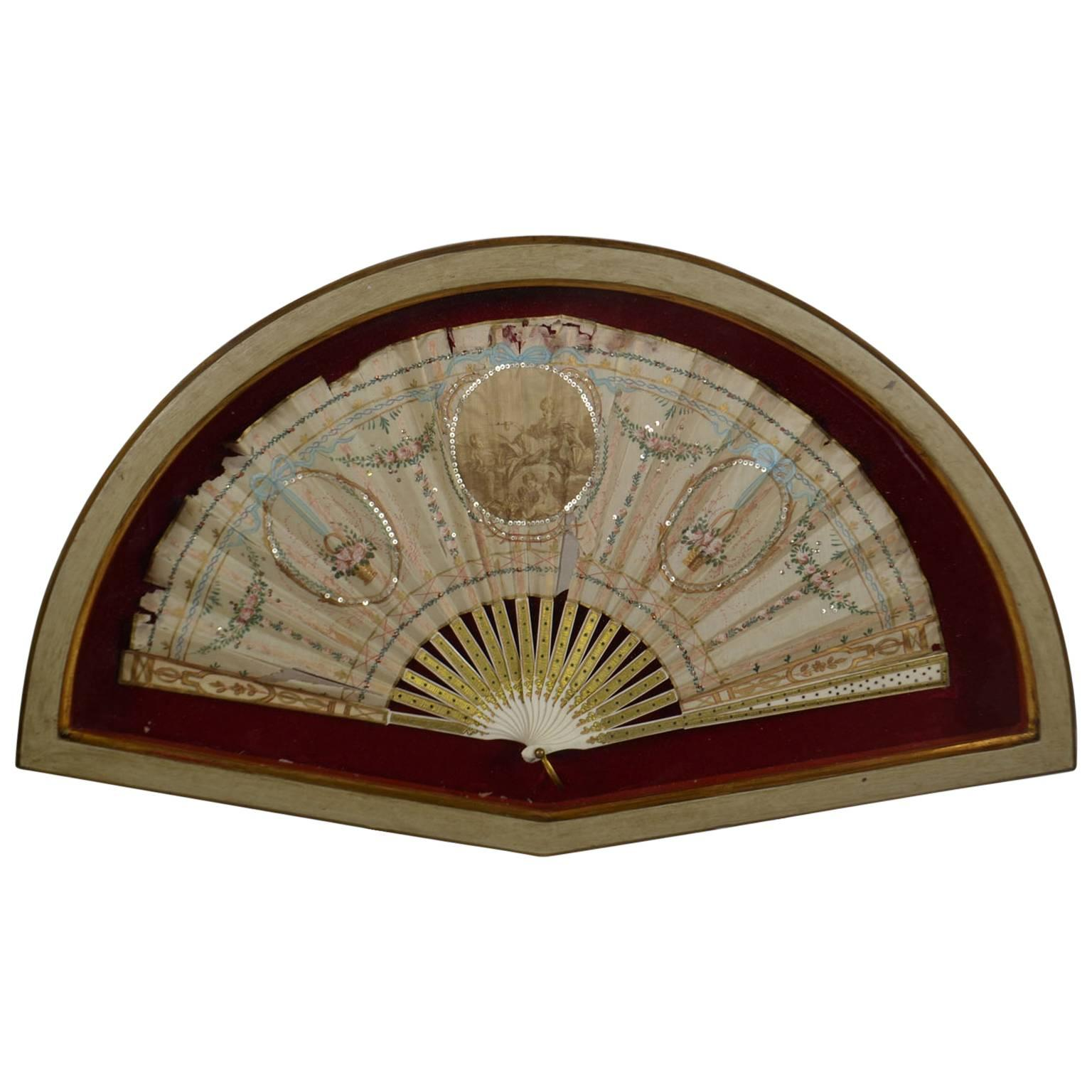 Framed 18th Century Hand-Painted Fan