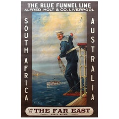 Original 1920s Blue Funnel Line Travel Poster: South Africa, Australia, Far East