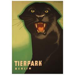 """Original 1963 Poster for Berlin Zoo """"Tierpark Berlin"""" Black Panther by Naumann"""