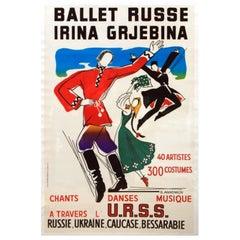 Original Russian Ballet Advertising Poster For Ballet Russe Irina Grjebina USSR