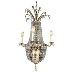 French Beaded Brass Chandelier