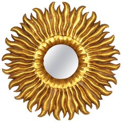 Spanish 1930s Hollywood Regency Gold Leaf Giltwood Carved Sunburst Mirror