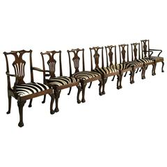 18th Century George II Walnut Dining Chairs in Zebra Hide, Set of Eight