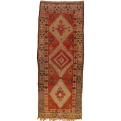 Vintage Berber Moroccan Rug Gallery Size with Tribal Design