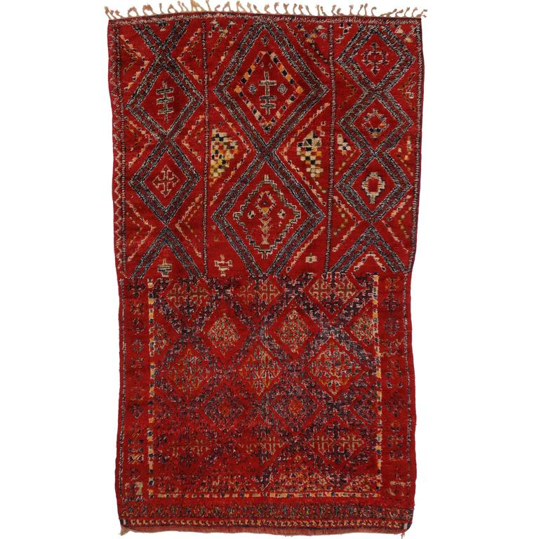 Mid Century Modern Rugs: Mid-Century Modern Style Berber Moroccan Rug With Tribal
