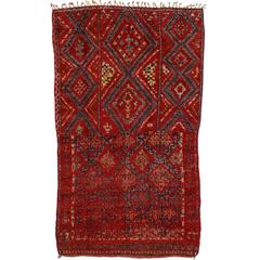 Mid-Century Modern Style Berber Moroccan Rug with Tribal Design