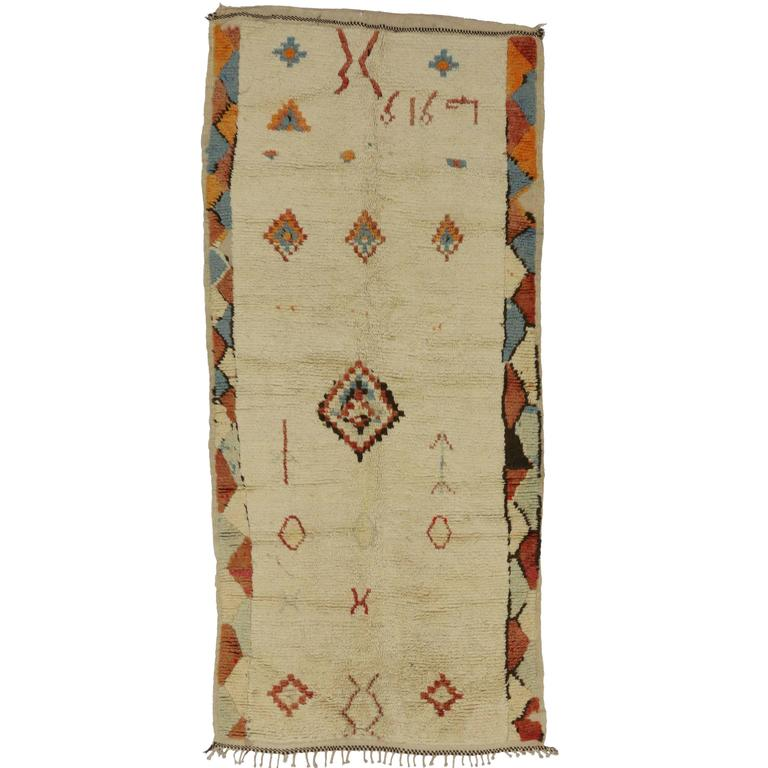 Minimalist Colorful Rug Designs: Berber Moroccan Azilal Rug With Tribal Designs And