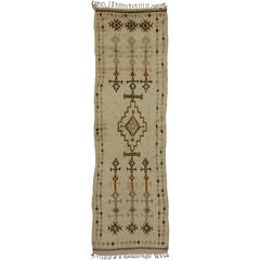 Mid-Century Modern Berber Moroccan Runner with Tribal Design in Light Colors