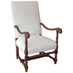 18th Century French Walnut High Back Fauteuil