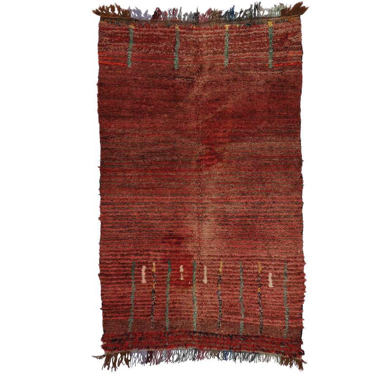 Mid Century Modern Style Red Berber Moroccan Rug With: Boho Chic Berber Moroccan Rug With Mid-Century Modern