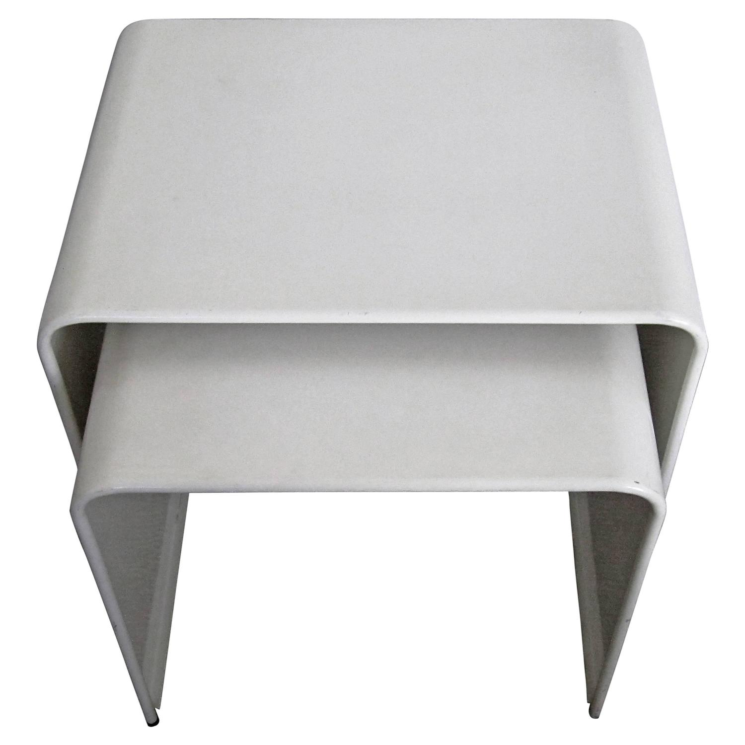 Vintage Modern White Enameled Nesting End Or Side Tables At 1stdibs. Full resolution  image, nominally Width 1500 Height 1500 pixels, image with #413E37.