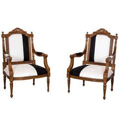 Pair of Antique Anglo-Indian or British colonial Open Armchairs