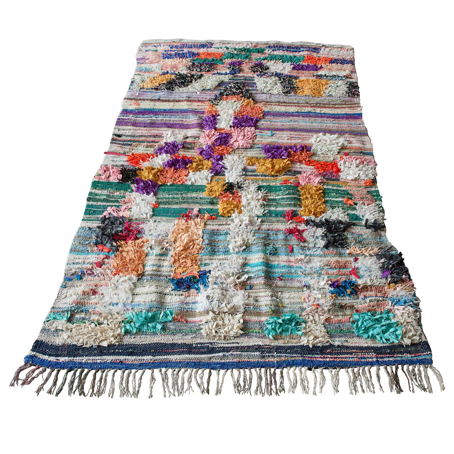 Moroccan Boucherouite Rug For Sale At 1stdibs: Moroccan Boucherouite Kilim Rug At 1stdibs