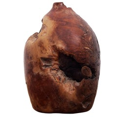 Burl Wood Vase from California, Signed