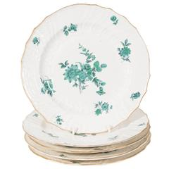 Early 19th Century Set of German Dishes with Bouquets of Green Flowers