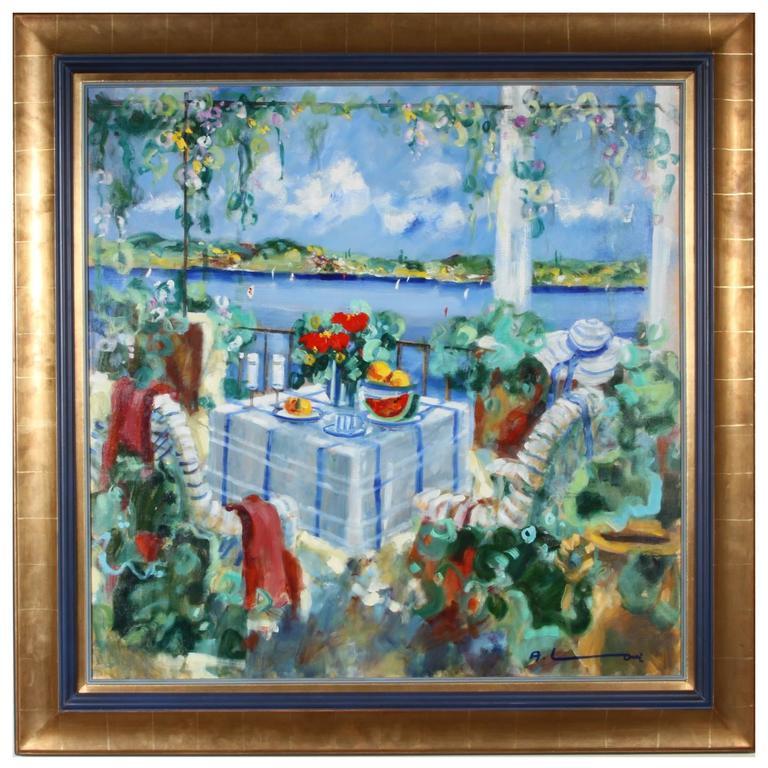 Alexander Rouband Oil on Canvas Still Life of a Seaside Deck