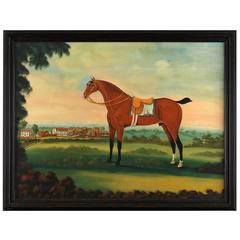 English Naive School Painting of a Horse