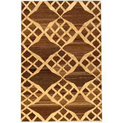 21st Century Modern Brown, Ivory Geometric Turkish Kilim Rug