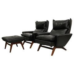 Rosewood and Leather Danish Lounge Chair by Georg Thams