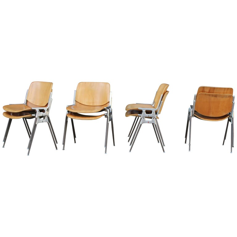 Set of Four Italian Chairs Designed by Giancarlo Piretti for Castelli