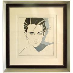 Original Important 1980s Patrick Nagel Iconic Acrylic on Board Painting of a Man