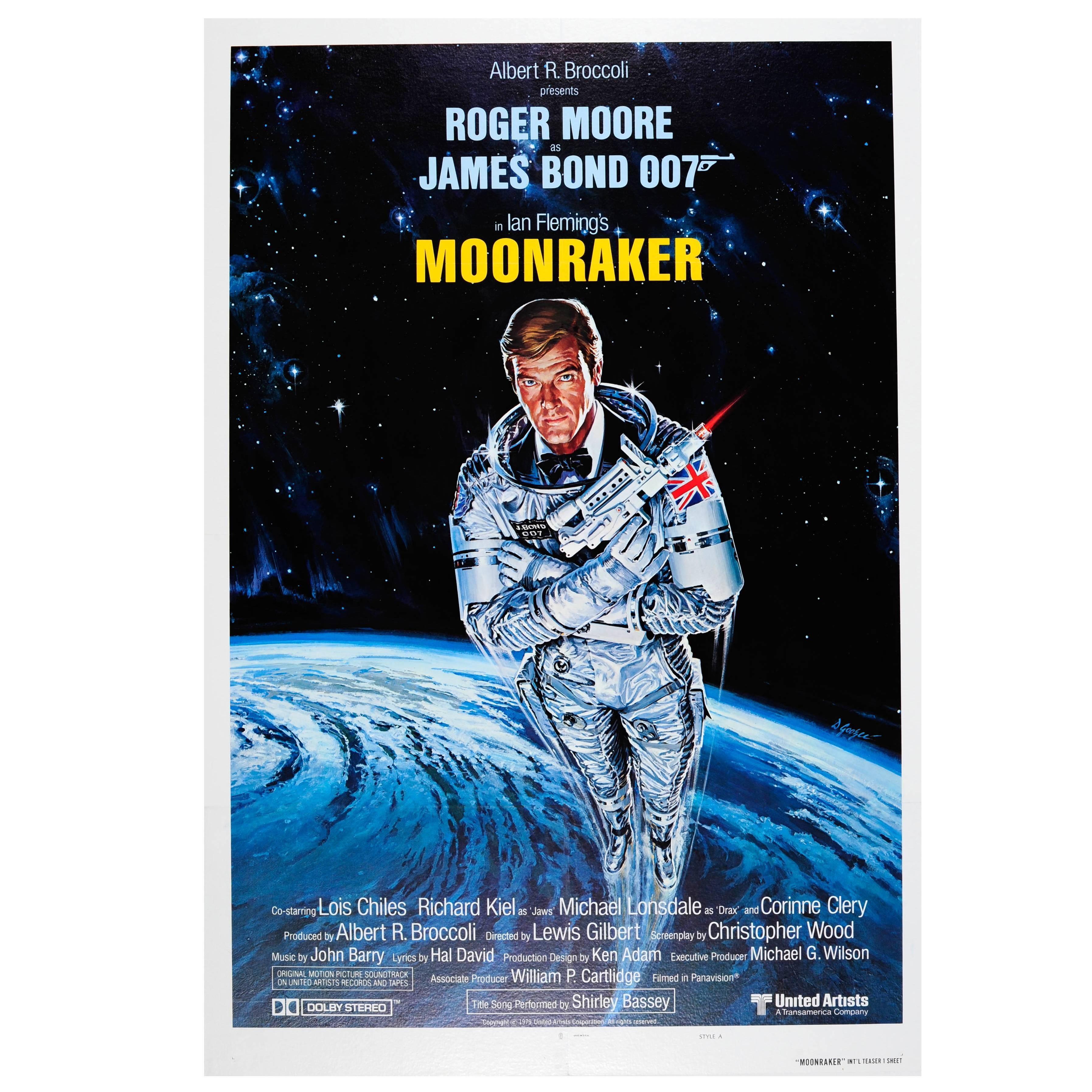 Original Vintage James Bond Poster by Daniel Goozee for the 007 Movie, Moonraker