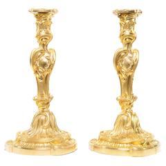 Very Fine Pair of Large Louis XV Style Ormolu Candlesticks