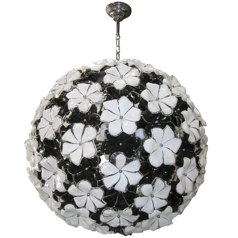 Italian Murano Glass Flowers Chandelier Attributed to Cenedese