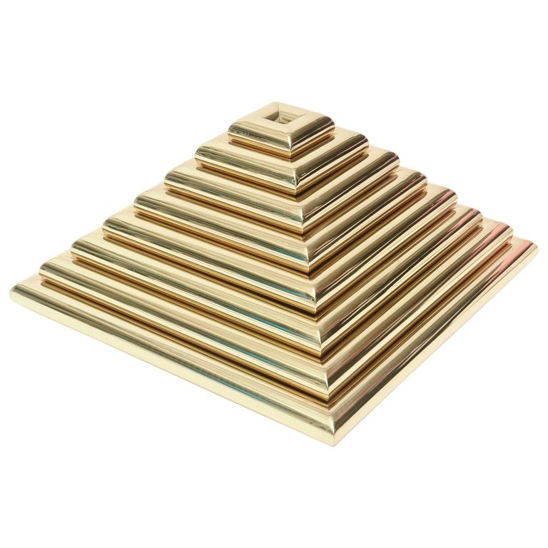 Italian Romeo Rega Pyramid Polished Brass Sculpture / Serving Trays 1