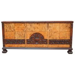 Swedish Art Deco Neoclassical Sideboard in Golden Flame Birch, circa 1920