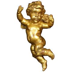 Early 19th Century Antique Gold Painted Wooden Cherub