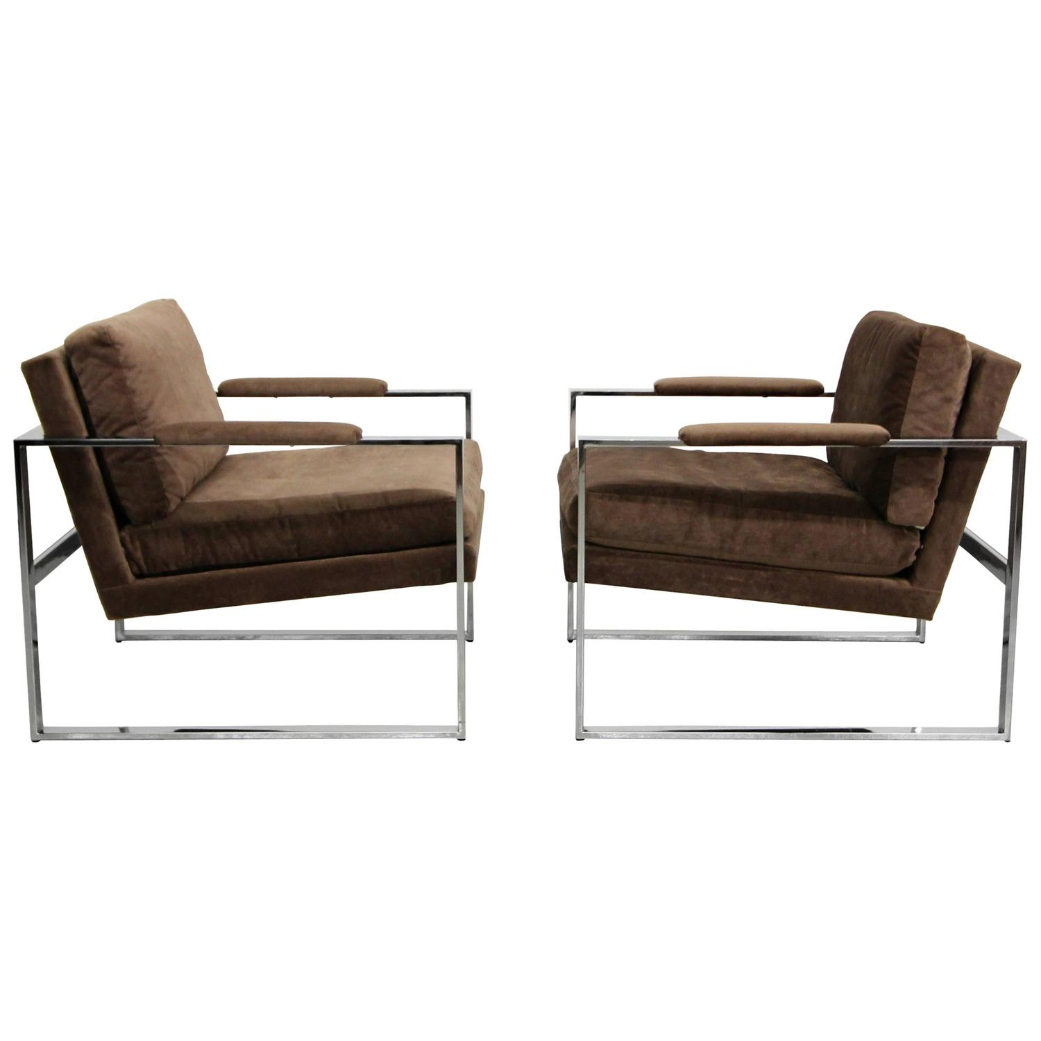 Pair of Floating Chrome Midcentury Lounge Chairs at 1stdibs