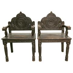 Pair of Antique Carved Wood Occasional Chairs