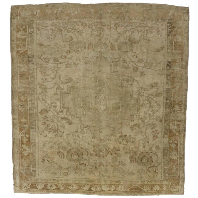 Antique Turkish Oushak Rug with Modern Design in Muted Colors