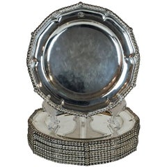 Paul Storr Antique Sterling Silver Dinner Plates Set of 12, circa 1813