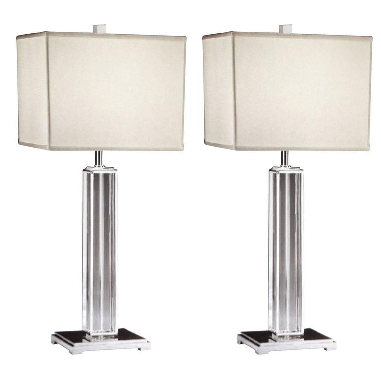 Pair Italian Mid-Century Modern Neoclassical Silver & Crystal Column Table Lamps
